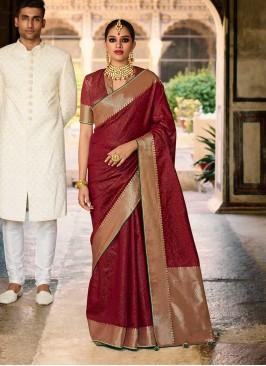 Maroon Color Jacquard Silk Fancy Saree
