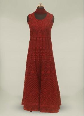 Maroon Color Net Stone Work Anarkali Gown