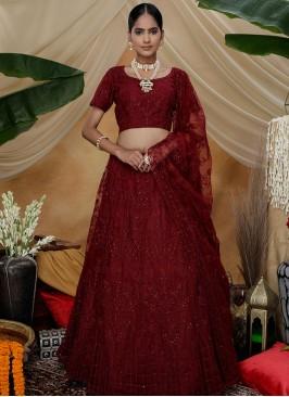 Maroon Color Net Thread Work Function Wear Lehenga
