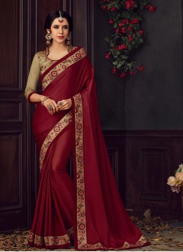 Maroon Color Poly Silk Saree With Unstitched Blouse