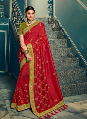 Maroon Color Resham Work Designer Saree