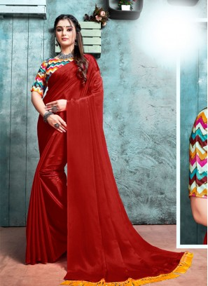 Maroon Color Saree With Printed Blouse
