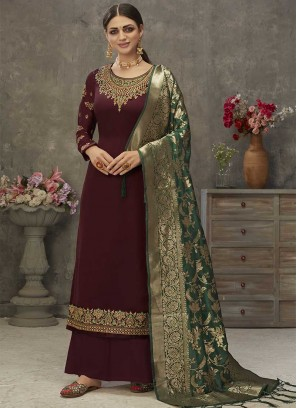Maroon Color Satin Palazo Suit