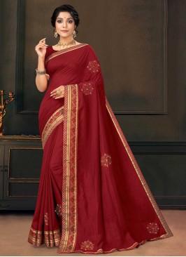Maroon Color Silk Adorable Saree