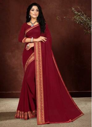 Maroon Color Silk Classic Saree
