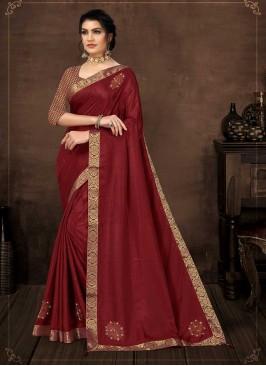 Maroon Color Silk Fanciful Saree
