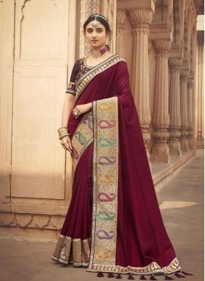 Maroon Color Silk Fancy Sarees For Wedding