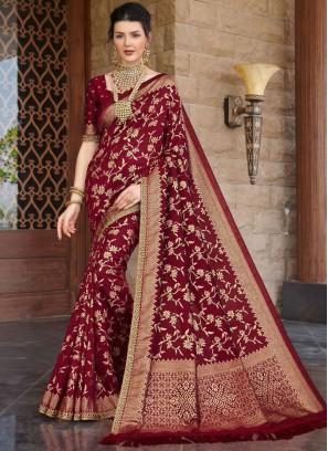 Maroon Color Silk Function Wear Saree