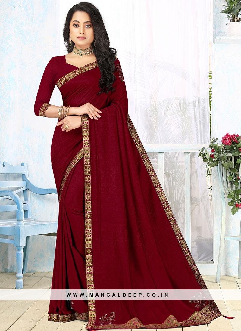 Maroon Color Silk Latest Design Saree