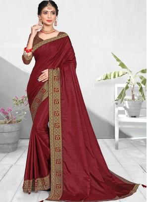Maroon Color Silk Office Wear Saree