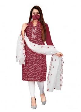 Maroon Color Slub Cotton Bandhni Dress