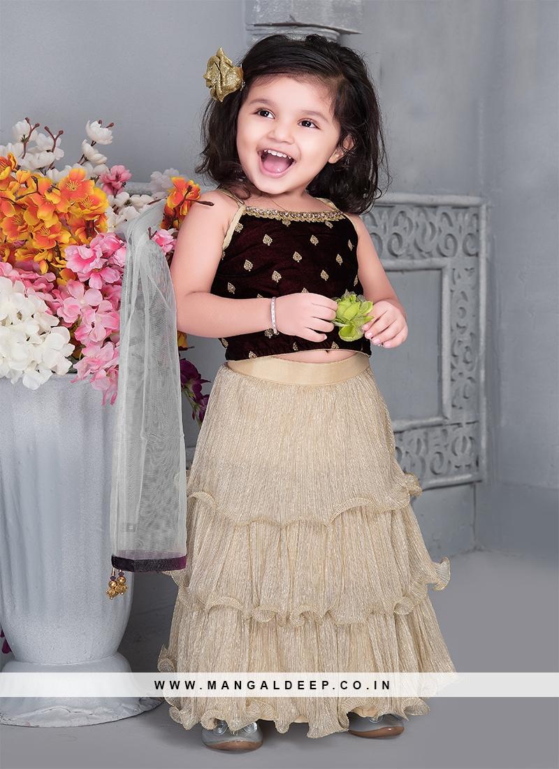 Maroon Color Velvet Baby Girl Lehenga