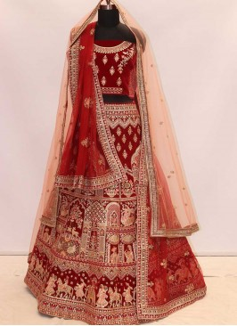 Maroon Color Velvet Bride Lehenga