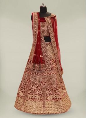 Maroon Color Velvet Designer Lehenga Choli