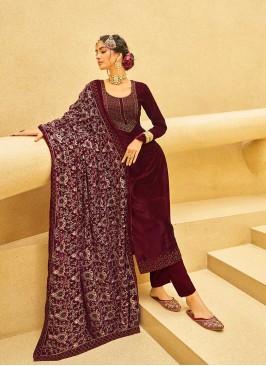Maroon Color Velvet Salwar Suits