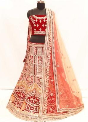 Maroon Color Velvet Wedding Lehenga