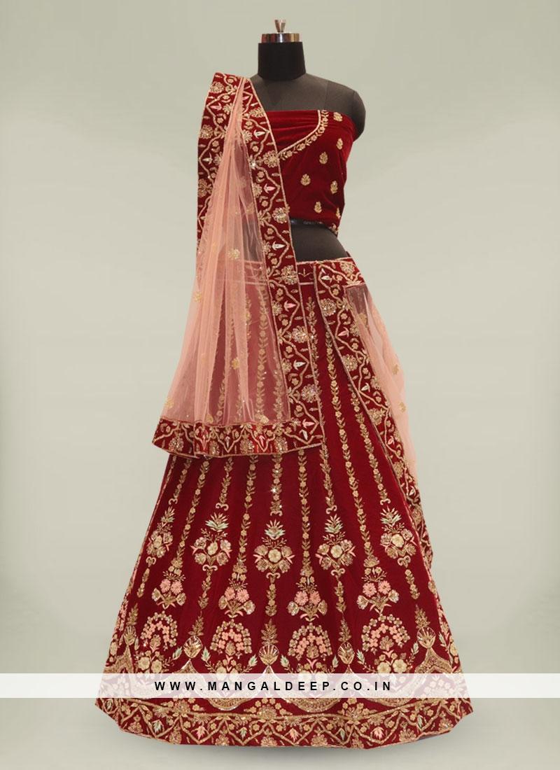 Maroon Color Velvet Zardosi Work Bride Lehenga