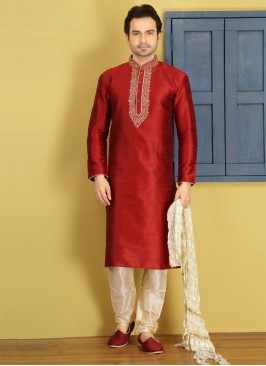 Maroon Embroidered Kurta Pajama