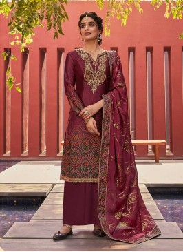 Maroon Satin Latest Salwar Suit
