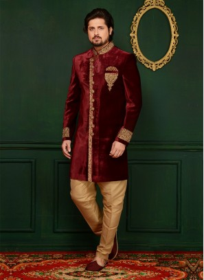 Maroon Wedding Wear Velvet Indo Western