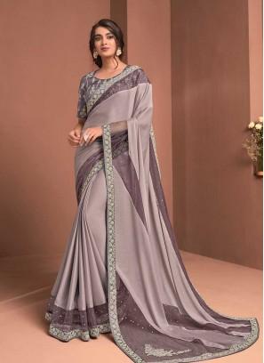 Mauve Color Readymade Blouse Saree