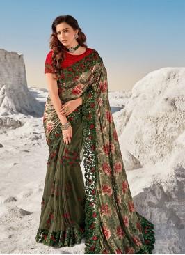 Mehndi Green Color Heavy Work Net Saree