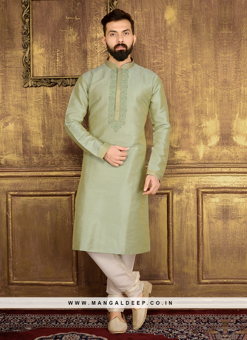 Men's Pista Green Churidar Kurta pajama