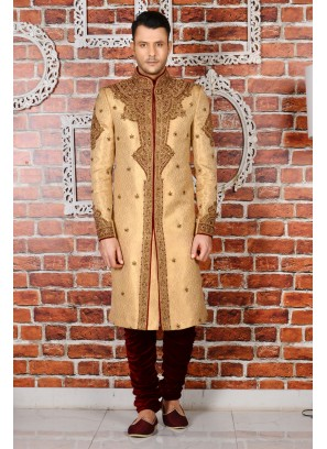 Mens Bridal Churidar Sherwani In Beige Colour