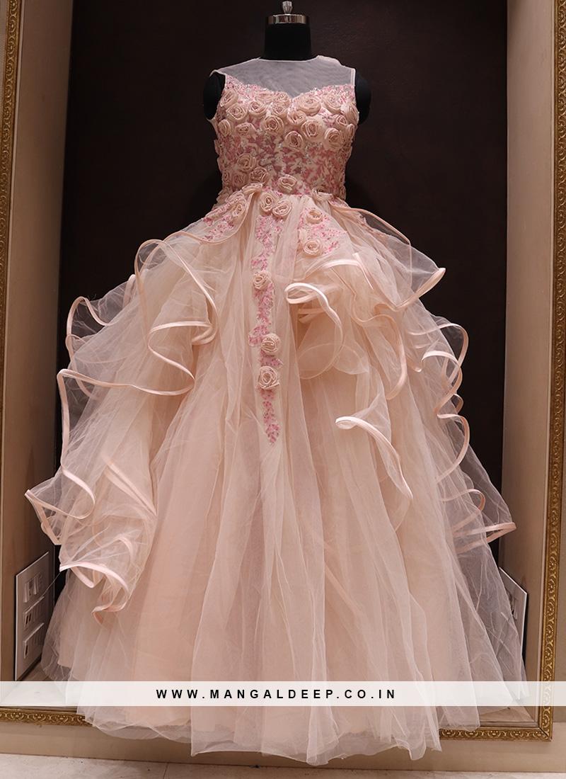 Mesmerizing Peach Color Designer Net Gown