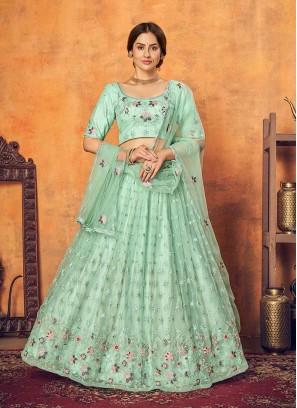 Mint Green Color Net Lehenga Choli