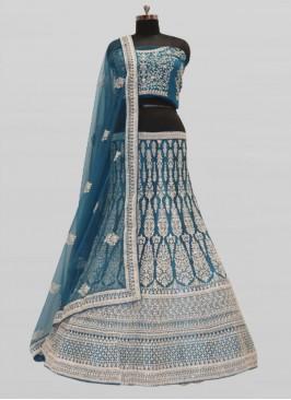 Morpich Blue Color Net Lehenga For Bride
