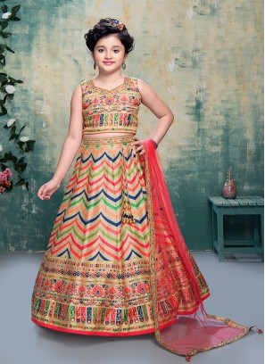 Multi Color Art Silk Daimond Work Lehenga Choli For Kids