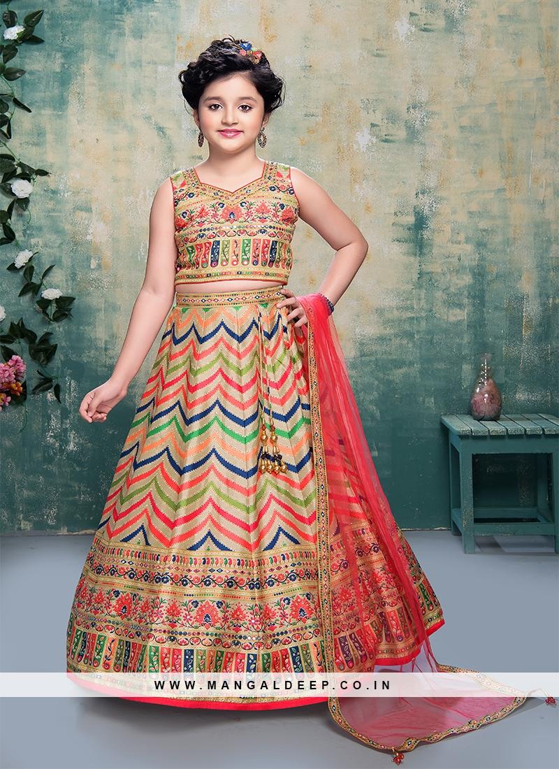 Multi Color Art Silk Daimond Work Lehenga Choli For Kids