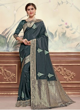 Multi Color Designer Saree With Unstitched Blouse