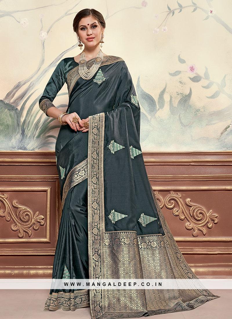 Multi Color Designer Saree With Unstitched Blouse