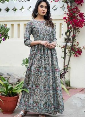 Multi Color Digital Print Gown