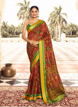 Multi Color Digital Print Patola Saree