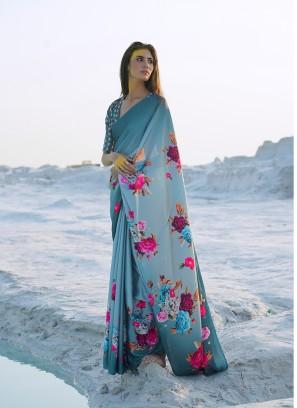 Multi Color Floral Print Saree