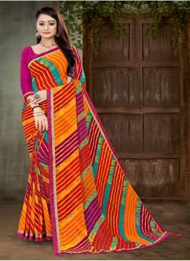 Multi Color Leheriya Georgette Saree