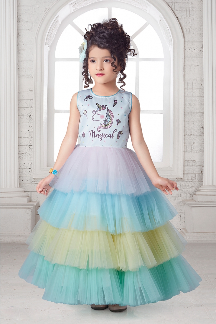 Multi Color Ruffle  Style Girls Frock