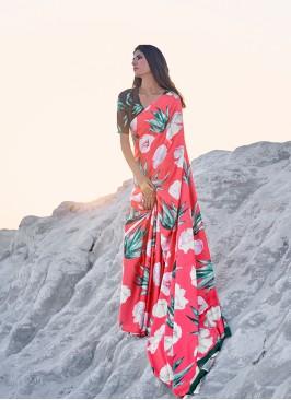 Multi Color Satin Fancy Printed Saree