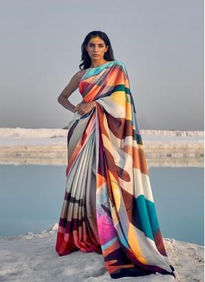 Multi Color Satin Printed Saree