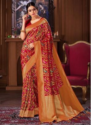 Multi Color Silk Party Wear Saree