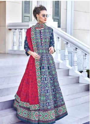 Multi Color Silk Patola Print Floor Length Suit