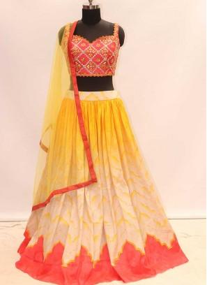 Multi Color Silk Resham Work Lehenga Choli