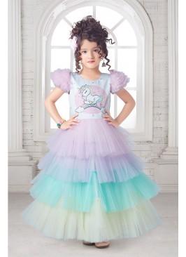 Multi Color Sleeveless Ruffle Kids Dress