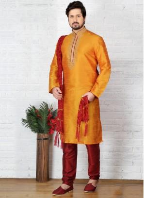 Mustard  Art Dupion Silk Kurta Pajama
