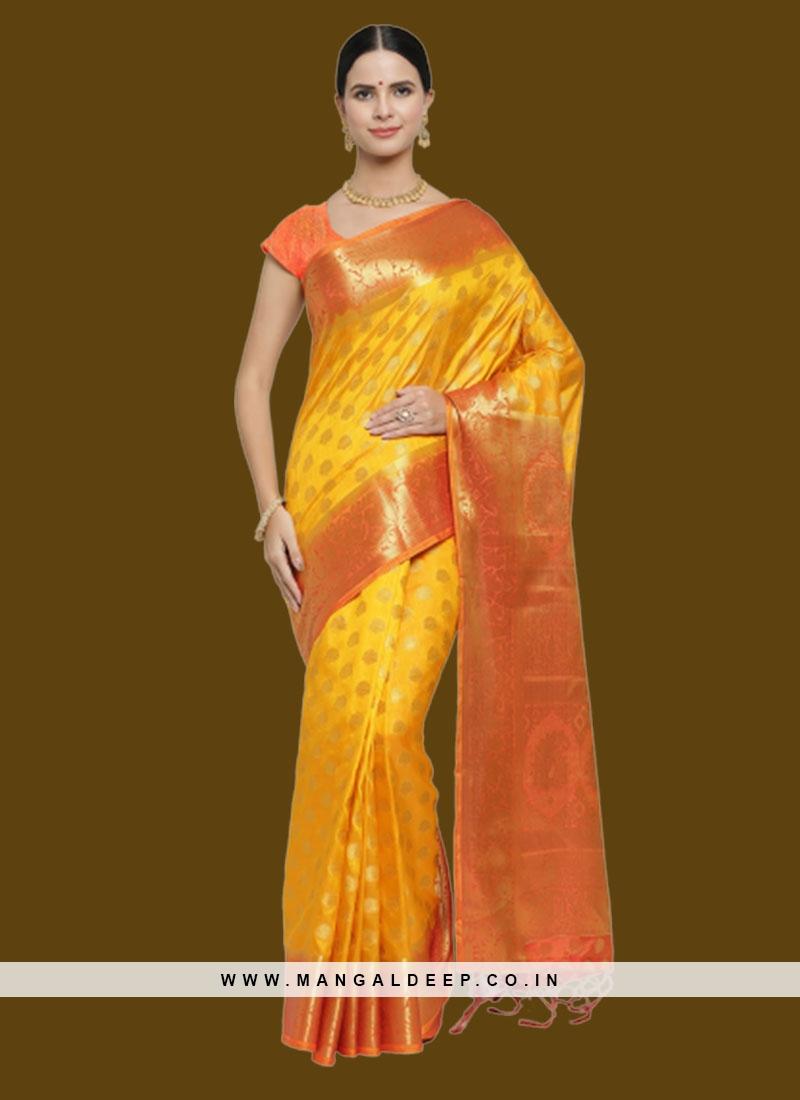 Mustard Color Banarasi Silk Saree Online