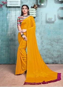 Mustard Color Chiffon Saree With Printed Blouse