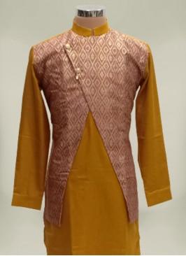 Mustard Color Cotton Silk Mens Koti